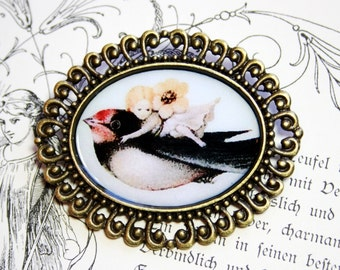 Thumbelina Nostalgic Brooch bronzecolored - danish fairy tale andersen gift sister friend mother bird brooch
