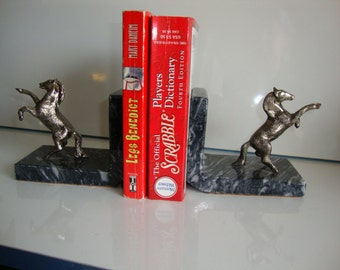 Vintage Horse Bookends,  Marble Bookends, Pewter Horse Book Ends,  Pair Horses, Cowboy Gift