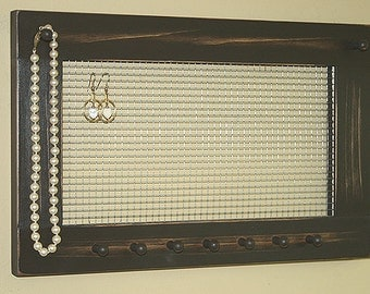 Jewelry Holder Organizer Frame Wall Hanging Vintage Rustic Brown Framed Jewelry Holder Earrings Necklaces Knob