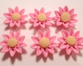 10 Fimo Polymer Clay Pink Yellow Sunflower Flower Fimo Beads 30mm