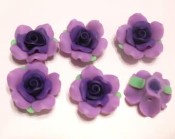 10 Fimo Polymer Clay Fimo Flower Rose Fimo Beads 32mm light purple dark purple
