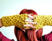 Wrist warmer, winter gloves, knit gloves, crochet gloves, Fingerless Gloves, Yellow Wrist Warmers (The Logan Wrist Warmers in CITRON)