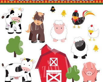 INSTANT DOWNLOAD Farm friends Personal and Commercial Use Clip Art