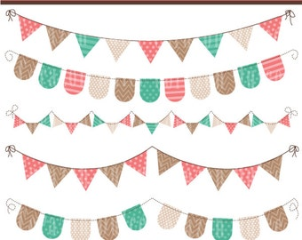 INSTANT DOWNLOAD Sweet buntings coral pink and lilac -Clip Art Set-