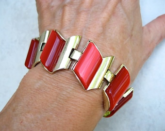 Vintage Signed Thermoset Bracelet Red Moonglow Charel