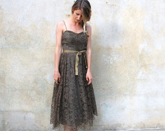 1950s French lace coffee cocktail dress- 50s tea length party dress- extra small