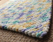 Soft and Cuddly, White, Blue, Yellow, and Aqua  Pom-Pom Baby Blanket, Photo Prop