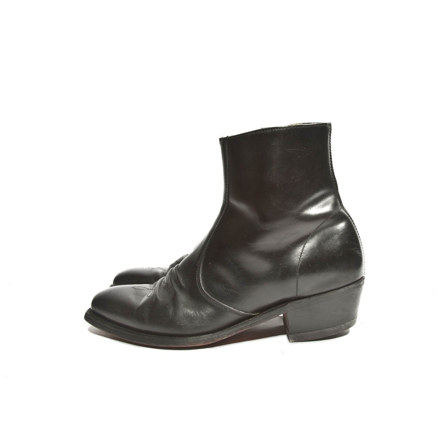 s western zipper ankle boots black leather square by