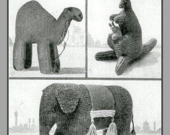 PDF Knitting Pattern for a 1940s Elephant, Kangeroo and Camel