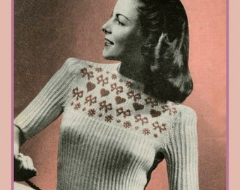 PDF Knitting Pattern for a 1940'S Ladies Queen Of Hearts Fair Isle Jumper - Retro Chic - Instant Download