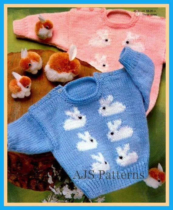 Knit Rabbit Sweater Pattern : Pdf knitting pattern for baby boys and girls jumper with a