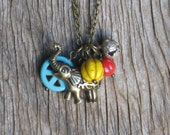 LAST ONE African Safari Tribal Ethnic Antique Brass Elephant Turquoise Peace Sign Brass Bell Mustard Yellow Fire Engine Red Bead Necklace