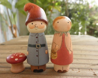 PEG DOLLS Wooden Toy-Gnome Couple- Gnome Couple-Mini Fly Agaric Mushroom
