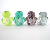 10 pieces Glass Owl Bead, Lampwork Owl Bead, Glass Bird Bead, Lampwork Bird Bead