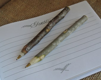 Twig Guest Book Pen, Rustic Wedding Guest Book Pen,  4 Pens