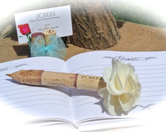 Wine Cork Guest Book Pen, Rustic Wedding Burlap Ivory Flower Pen