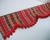 Wood and Yarn Pom Pom Valance.  Vintage 1960. Groovy Red and Pink. Eames Era, Mid Century Modern.