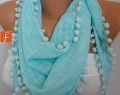 ON SALE - Mint  Scarf  -  Women Scarf  Cotton Scarf  -  Cowl Scarf  with Lace Edge - fatwoman