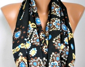 Spring Black Floral Infinity Scarf Mother's Day Gift Circle Loop Scarf Gift Ideas For Her Women Fashion Accessories