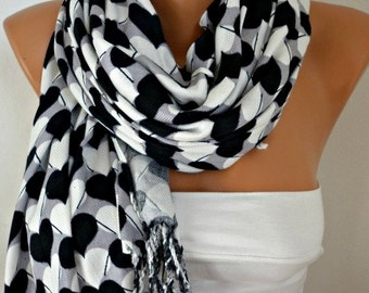 Teacher Gift Heart Printed Cotton Scarf Shawl Oversized Scarf Pashmina Cowl Scarf Gray - White - Black  best selling item scarf