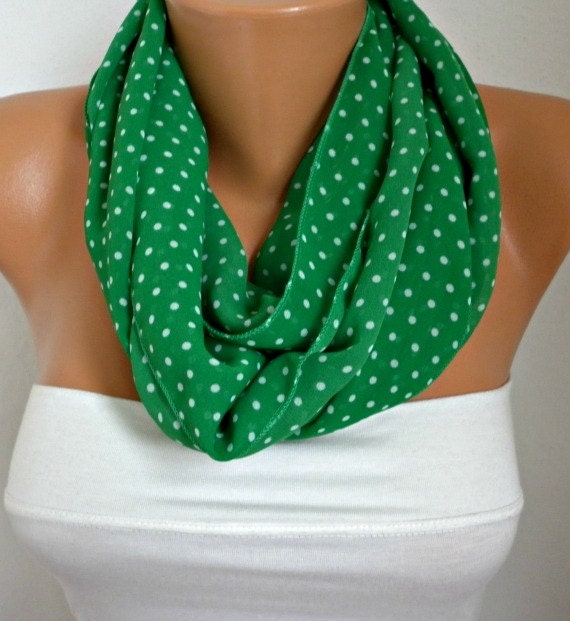 ON SALE - St. Patrick's Day Polka Dot Infinity Scarf Shawl Circle Scarf Loop Scarf Gift - for her -- Green - White Polka Dot - fatwoman