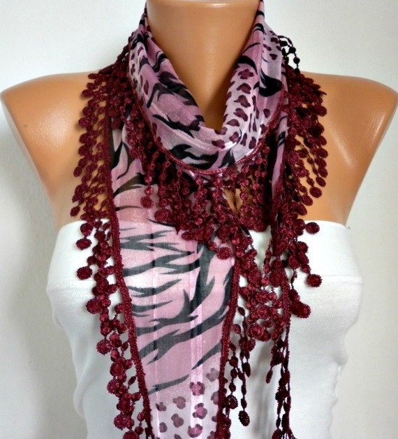 ON SALE - 50% OFF - Multicolor Scarf  -  Cotton Scarf - Cowl with  Lace Edge