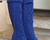 Bright  Blue Knitted knee socks nice and warm
