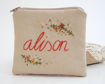 Name Personalized Clutch, Wild Flowers Hand Embroidery, Personalized Small Cosmetic Bag, Custom Gift Bag, Name Makeup Bag, Mothers Day Gift