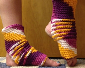 Yoga Socks in Batik Colors Mango and Purple Cotton  US Grown