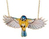 Flying blue tit necklace