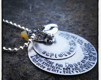 PERSONALIZED Hand Stamped Layered Silver (2) Disc Tag Necklace
