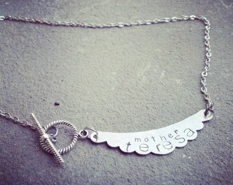 hand stamped banner necklace with your personalization