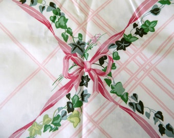 Vintage Fabric Remnant .. 1980s Floral Fabric ..  Cottage Chic ... Shabby Ivy Plaid ... 2 1/2 Yards