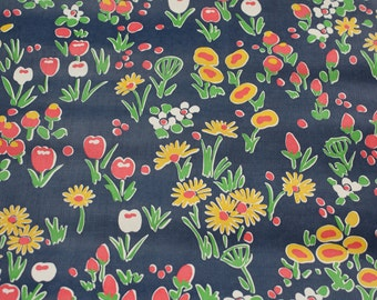 Retro Wallpaper by the Yard 70s Vintage Wallpaper – 1970s Vinyl Yellow and Pink Tulips and Daisy on Navy Blue