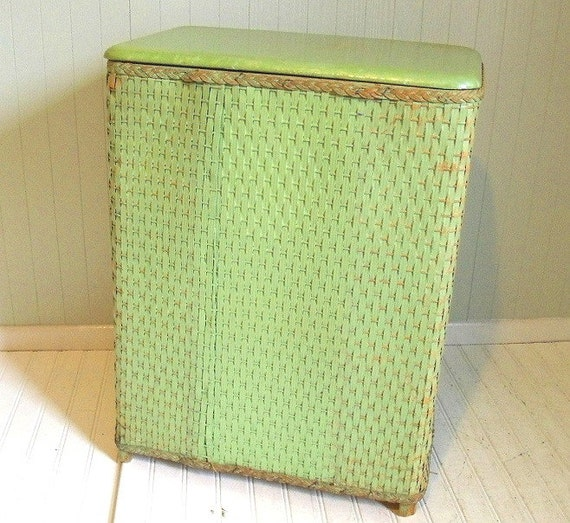 Vintage jadeite green wicker wood clothes hamper early - Wicker clothes hamper ...