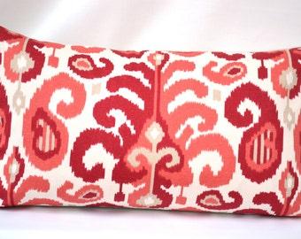Decorative Lumbar Throw Pillow, 14 by 24 inch, Duralee Suburban Fergana Ikat   (Cover only)