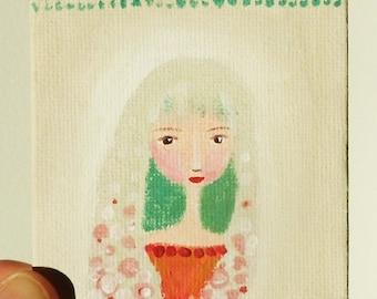 Original Folk Art Girl, Cute Whimsical Girl Painting, Mini Canvas