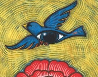 Folk Art Flower and Blue Eye Bird print