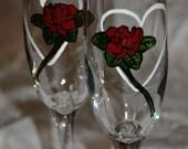 Valentine Rose  - Handpainted Champagne Flute Pair