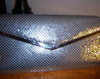 Silver Metal Clutch Handbag
