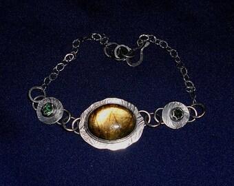 Unique Oval labradorite Green Garnets Fine (100%) Silver Bracelet Free Shipping.