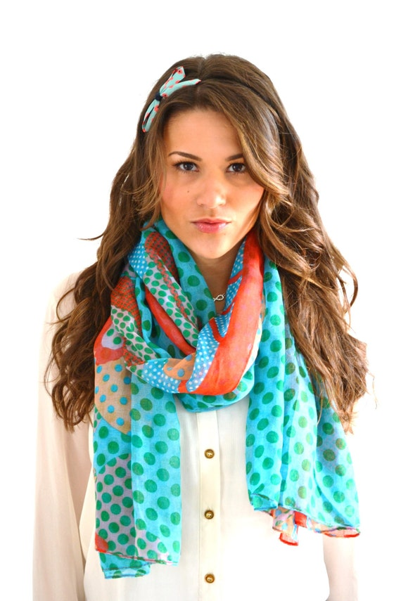 sale floral polka dot lightweight summer scarf by anytimescarf