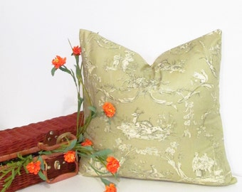 SALE!!!  Thibaut Decorative Pillow Green Toile Print Accent Pillow Cover Handmade in the USA