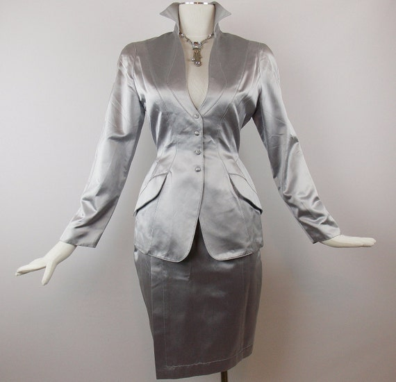 Spring Sale Vintage ICONIC  THIERRY  MUGLER  Silver  Mod  Cocktail  Skirt Suit Avant Garde Evening Wear Sz 38