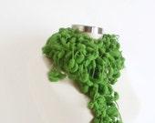 SCARF HANDMADE green Pom Pom Cheerleader  Knit Scarf Curly Long Scarf,Neckwarmer, Cowl, Necktie - Cocoon, Mulberry, Pompom Yarn -  Gift for