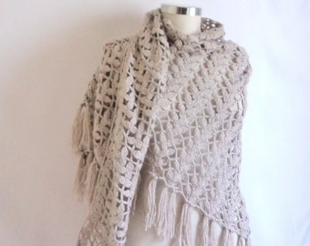 Handmade Crochet Light Gray Shawl-Free Shipping