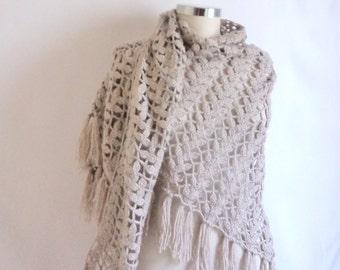 GREY SHAWL scarves handmade gift bolero shawl shrug collar cowl stole new spring mother gift