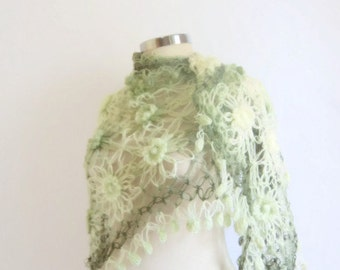 Handmade Crochet Soft Green Shawl-Free Shipping