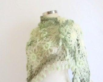 Handmade Crochet Soft Green Shawl-Free Shipping