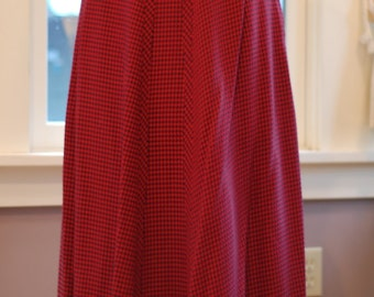 vintage red and black plaid skirt
